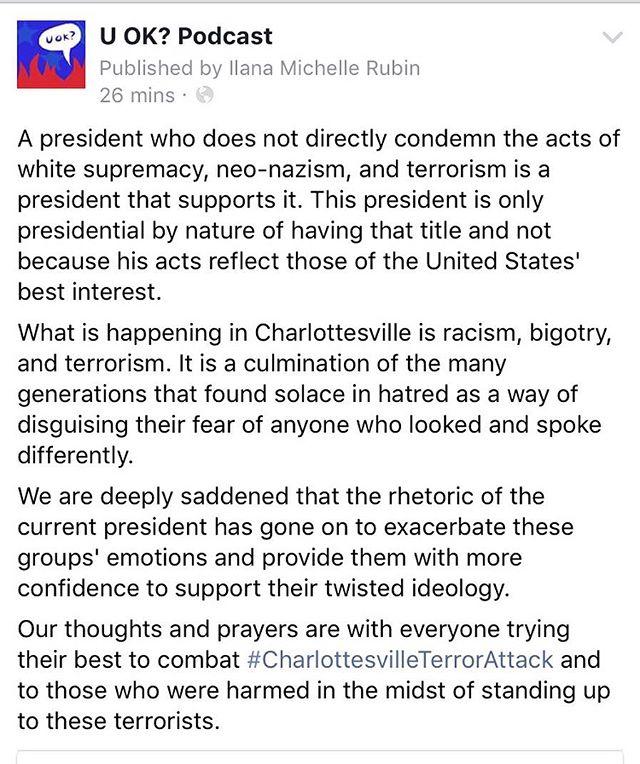 Some words from us ❤️#charlottesville #fucknazis #resistance #standtogether #onlyoneside #itsnotwiththeterrorists #gofigure #notmypresident
