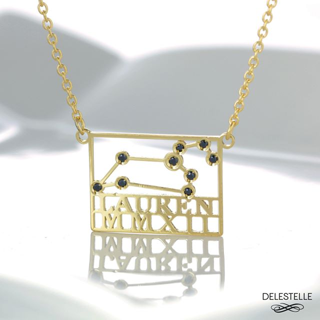 Leo Constellation necklace with black diamonds #Leo #Leozodiac #ZodiacLeo #LeoSign #namenecklace #monogramnecklace #uniquenecklace #customnecklace #personalizednecklace #quotenecklace #mottonecklace #textnecklace #madeforyou #uniqueness