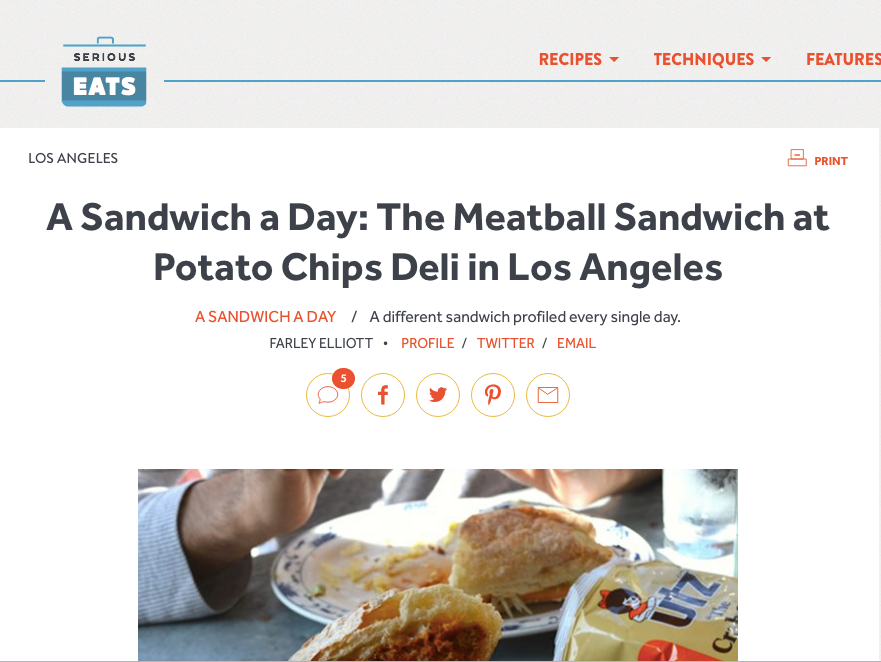 Serious Eats: A Sandwich a Day: The Meatball Sandwich at Potato Chips Deli in Los Angeles