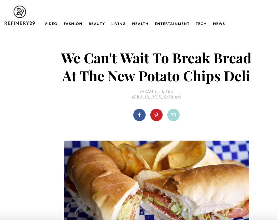 Refinery29:  We Can't Wait To Break Bread At The New Potato Chips Deli
