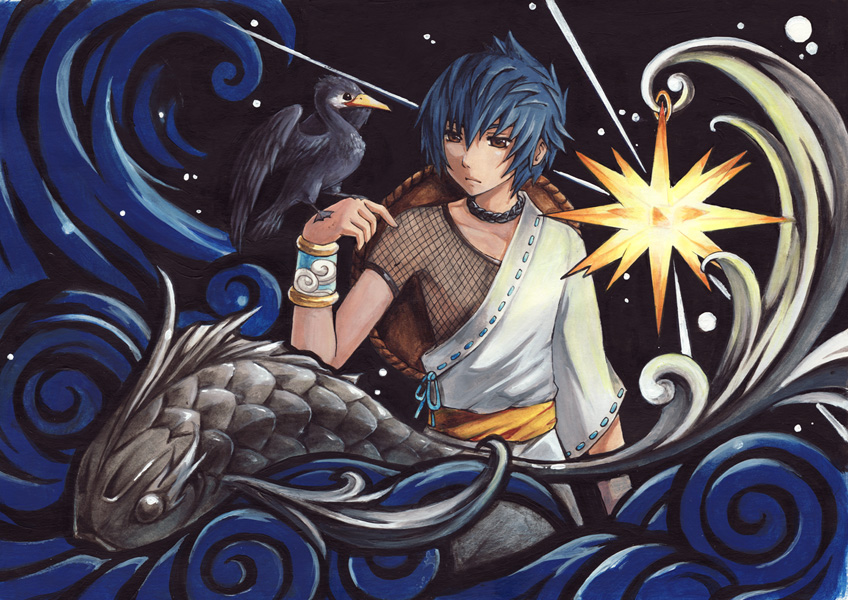 Acrylic illustration for  Legend of Cormorant Fisherman  鵜匠伝 アクリル 2010