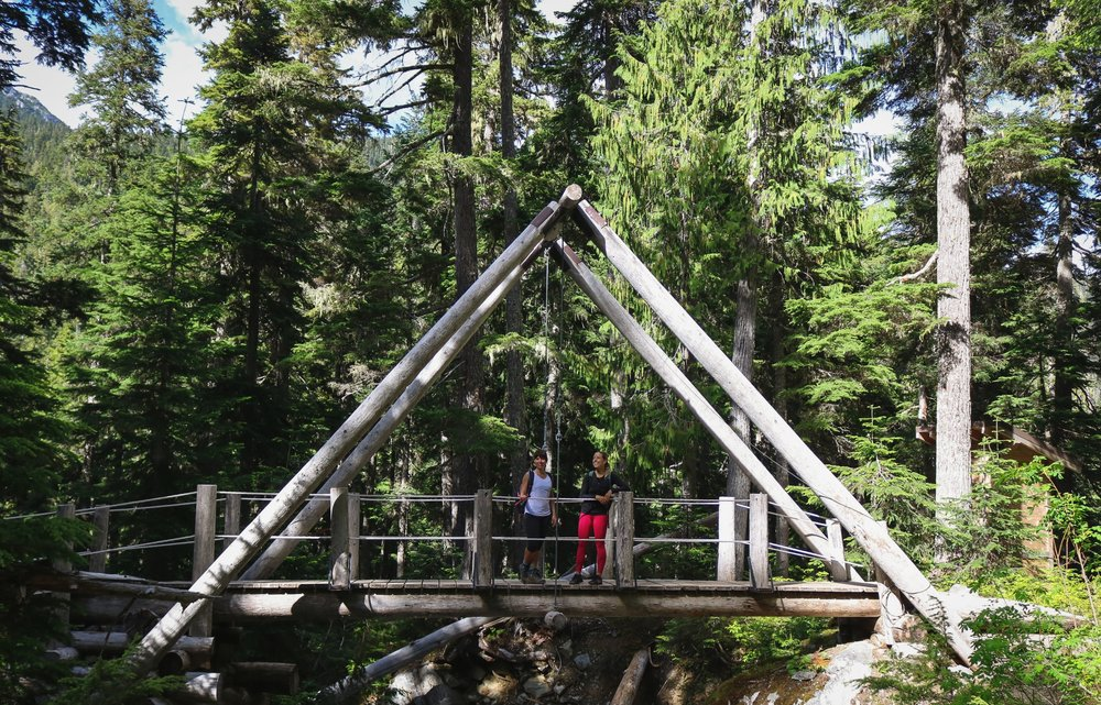 The first of two beautifully constructed bridges along the trail