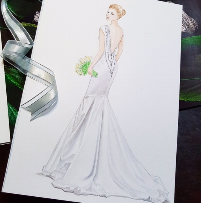 Bride in Galia Lahav. Painted in watercolour.