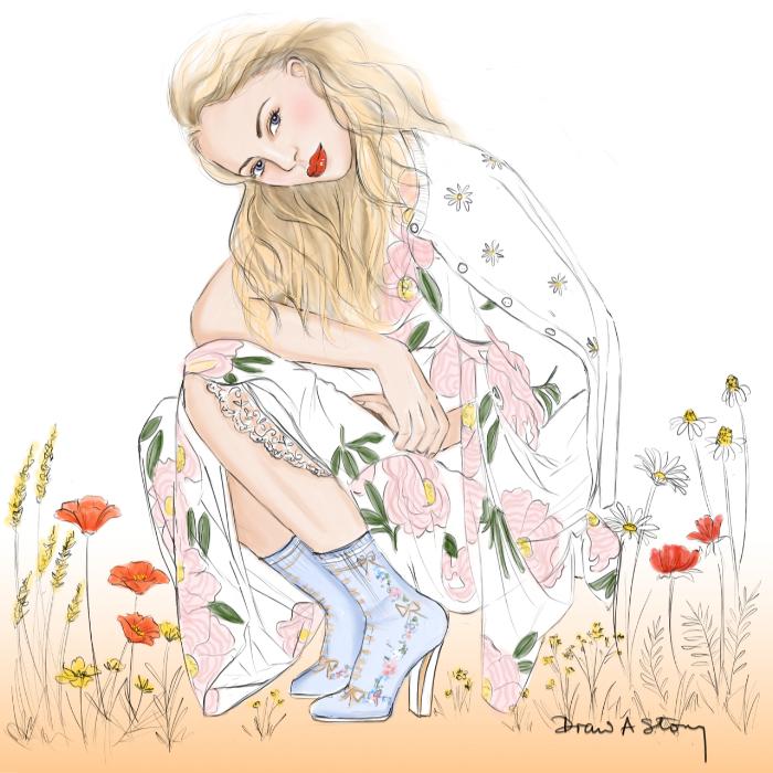Wild Flower Girl - Frederickke Sofie in Simone Rocha and Fendi boots