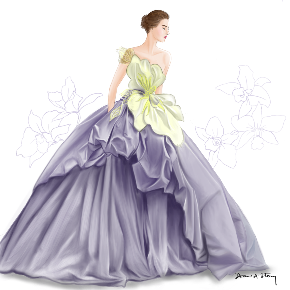 Tan Yoong's orchid duchess satin and tulle gown
