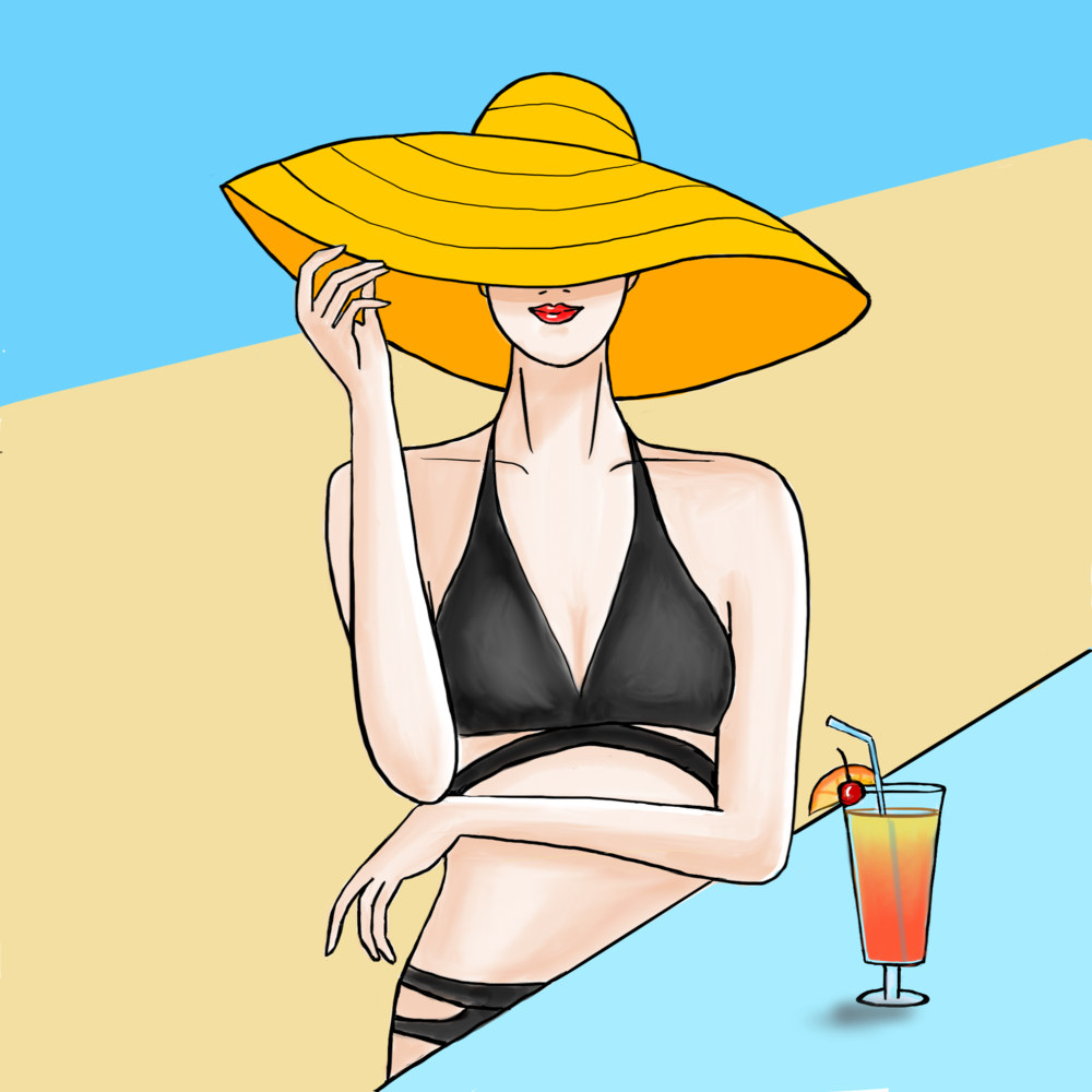 Yellow Sunhat of Sand and Sea series, Lifestyle Illustrations
