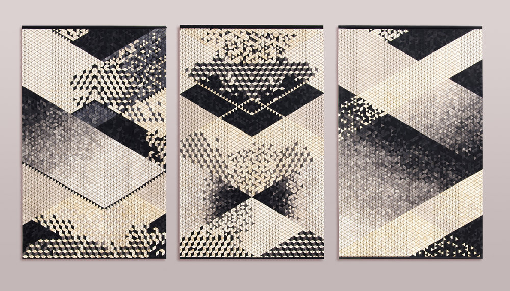 """INTARSIA"" wall-hangings / set of 3 / size of each piece: 100 x 160 cm"