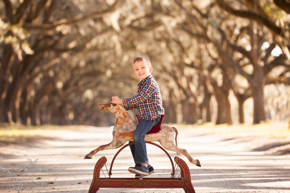 a boy and his rocking horse