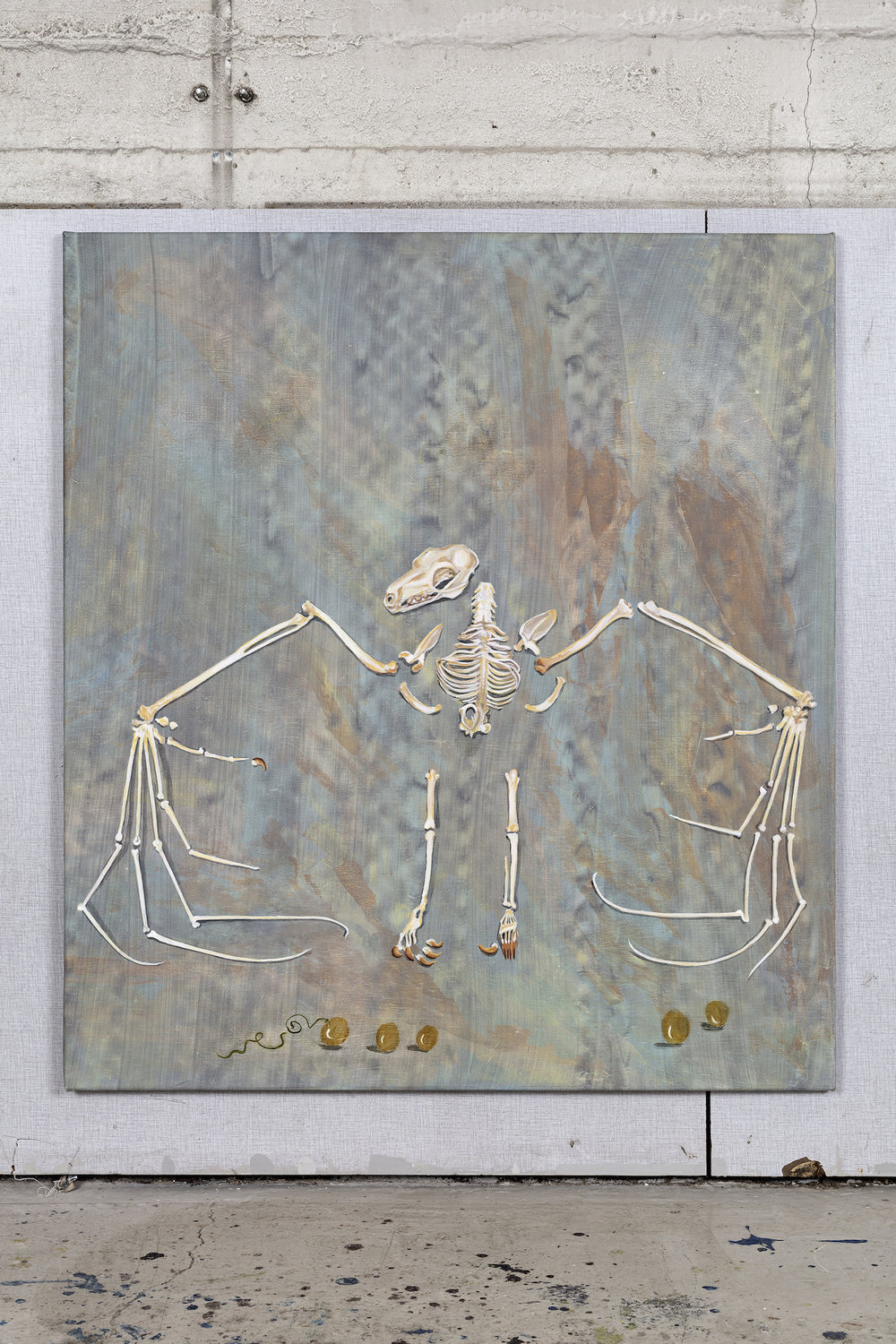 Allison Katz Fruit bat for Mallarmé: I am truly decomposed 2016, Acrylic on canvas, 100 x 90 cm