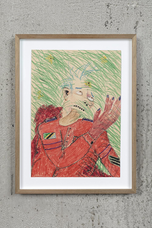 Calvin Marcus Dead Soldier 2016, Crayon on paper, 29.5 x 20.5 cm