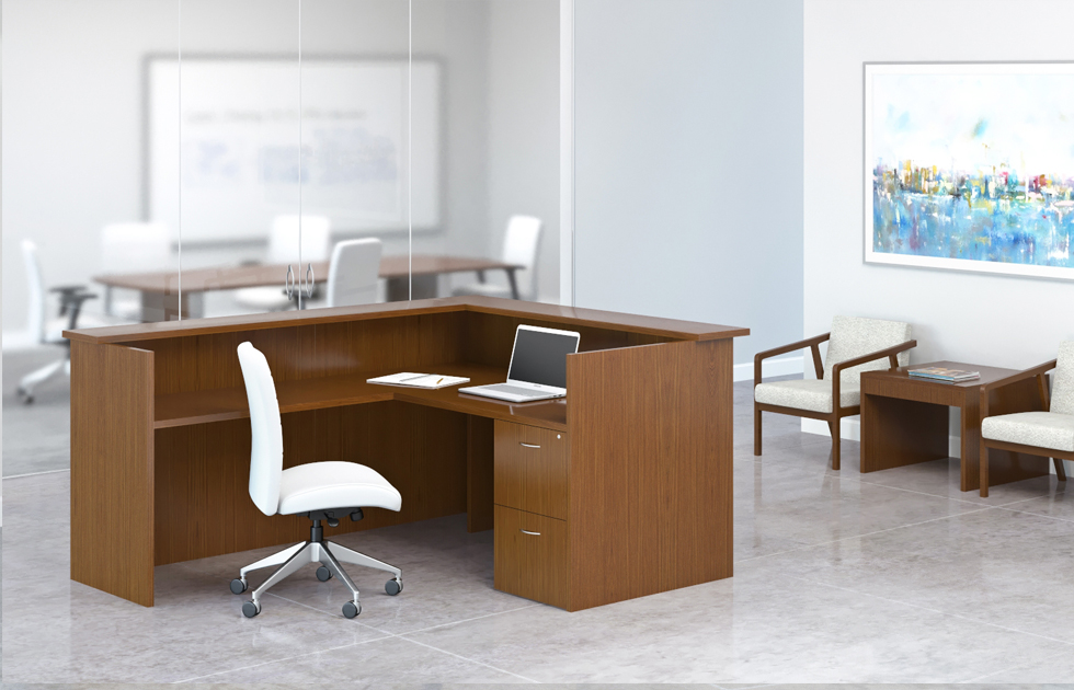 Welcoming environments start with furniture that's warm and inviting.  Create a customized work environment through flexible combinations of shells, components, and work surfaces that address multiple configuration options with Aura Reception.