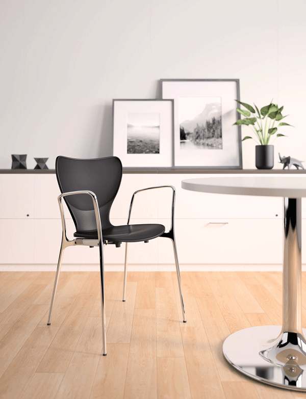 3. Silhouette   Silhouette features elegant curves that add a distinctive design to any setting, whether grouped for conferences or used as a side chair in offices. Its contoured back shape is scaled to maximize comfort. A ribbed backrest provides slight flex. Silhouette's flared arms provide a distinctive design element.