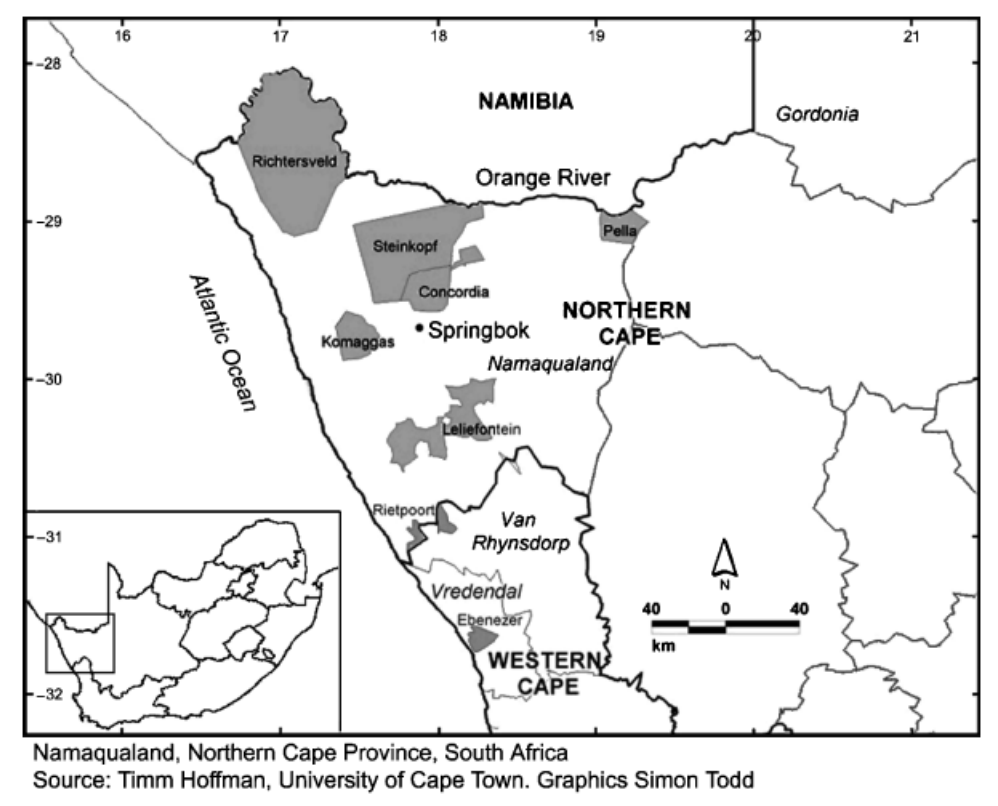 Map of Namaqualand with communal areas in grey