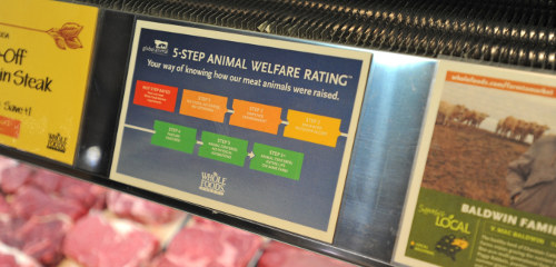 Whole Foods' animal welfare index is an example of additional meat labeling provided by a retailer.