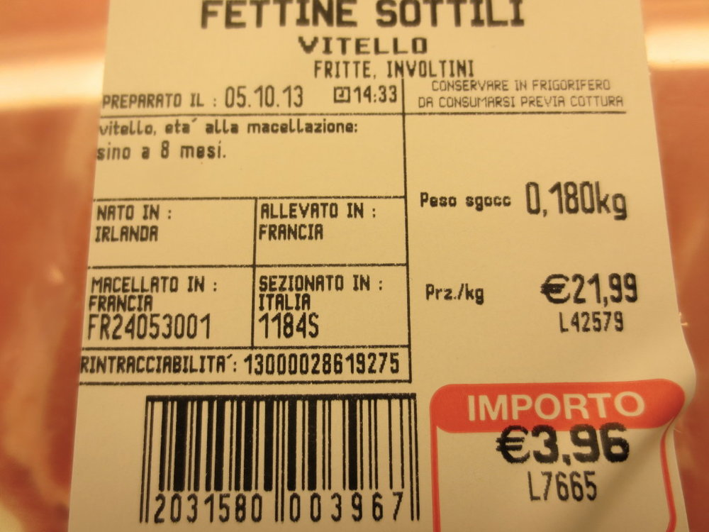 An example of traceability labeling in Europe.  This cut of veal was born in Ireland, raised and slaughtered in France, and sectioned in Italy.  Source:   Texas A&M Meat Science