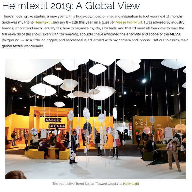 Thank you @trimqueen for the feature on your blog about @heimtextil - check out New York blogger Jana Platina Phipps www.trimqueen.com  #blog #trendblog #textiles #homedecor #designtrends #frankfurt #fabrics #interiors @messefrankfurt