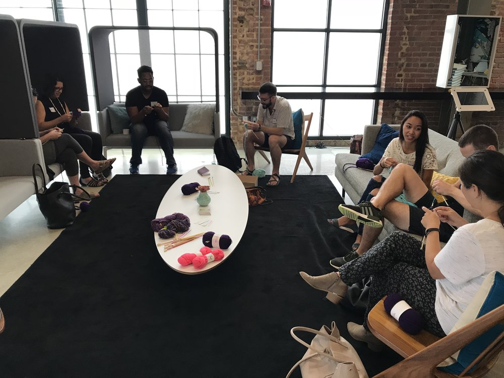 Community knitting event at Code for DC's National Day of Civic Hacking