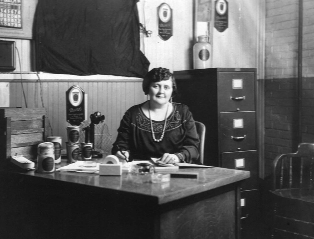 Eugenia Duke circa 1922 in her corporate office located on South Main