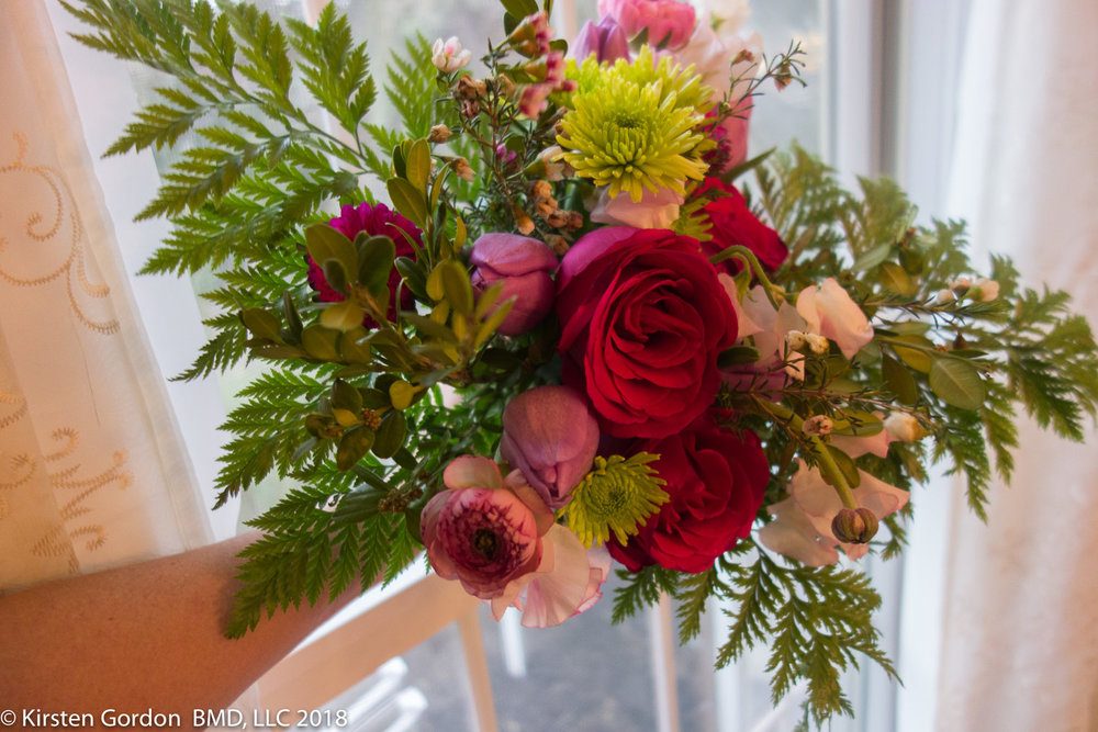 Fresh pink spring bridesmaid bouquet  Designed and sized for a colorful impact without upstaging the bride.