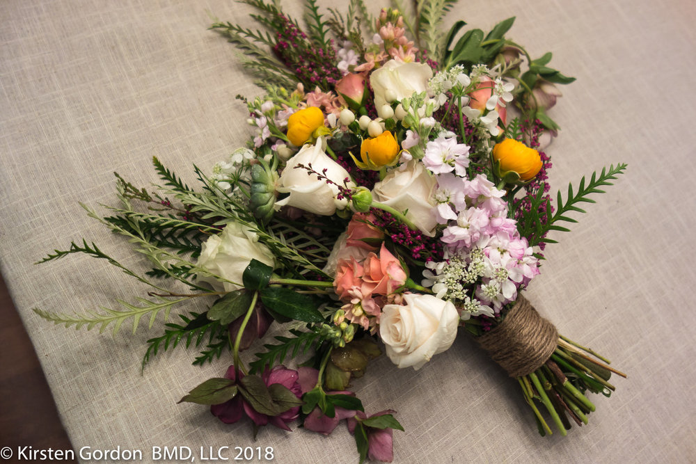 "Rustic Barn Wedding Bridal bouquet - April 2018  50 stems, 22"" wide, but not too heavy. a combination of classic ingredients changed up with succulents and innovative greenery."