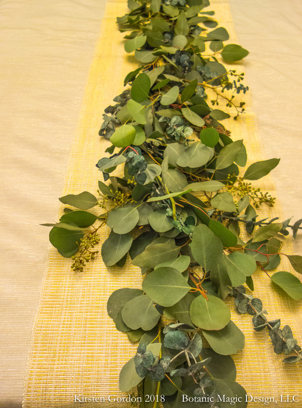 Handmade Greens Garland - Eucalyptus shown  Fragrant and fresh, it can be further embellished with fresh cut flowers, and used in many ways from table to doorway and more.