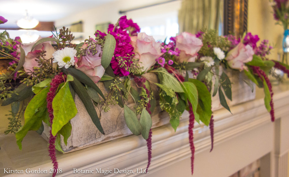 "The edge of greatness - 7"" height  Designed for a home event, this mantel box shines with hanging amaranthus, one of my favorites. 40 inches wide is good for most mantels; can be made in different sizes."