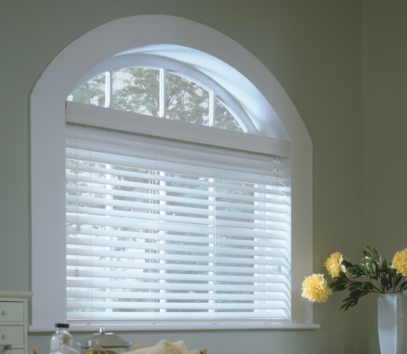 Faux Wood Blind with Arch Window