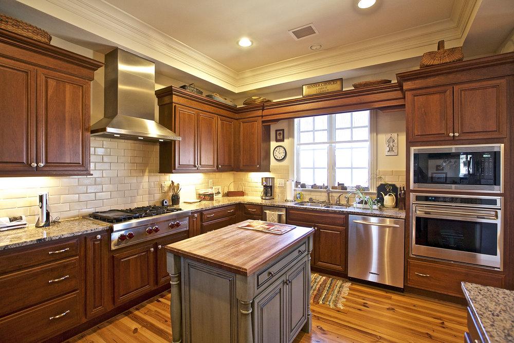 Wolf & Viking appliances plus wine fridge in the gourmet kitchen