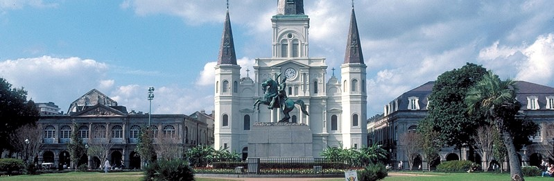 The imposing St. Louis Cathedral in the French Quarter of New Orleans