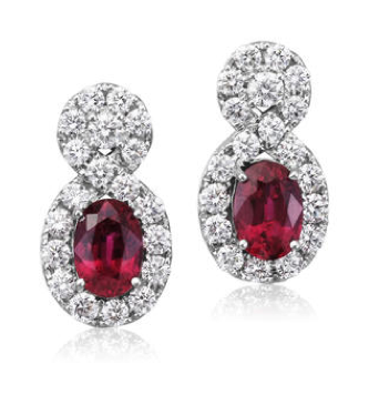Parlé 18K White Gold Mozambique Ruby Diamond Earrings