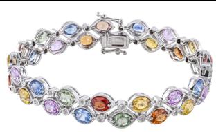 Sophia by Design Rio Orange Sapphire Diamond Bracelet 14k White Gold