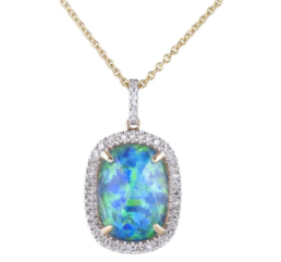 Sophia by Design Opal Diamond Pendant Necklace 14k Yellow Gold