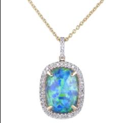 Sophia by Design Opal Diamond Pendant Necklace 14k Yellow Gold