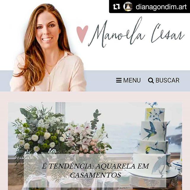 {Repost} Matéria linda do blog@blogcolherdechanoivasfalando da tendência da aquarela em casamentos! E meu trabalho está lá, , com fotos da@lileruiz, ao lado da incrível@confiseriedelu. Amei! Passa lá no blog para ler, o link está na minha Bio. 🍃