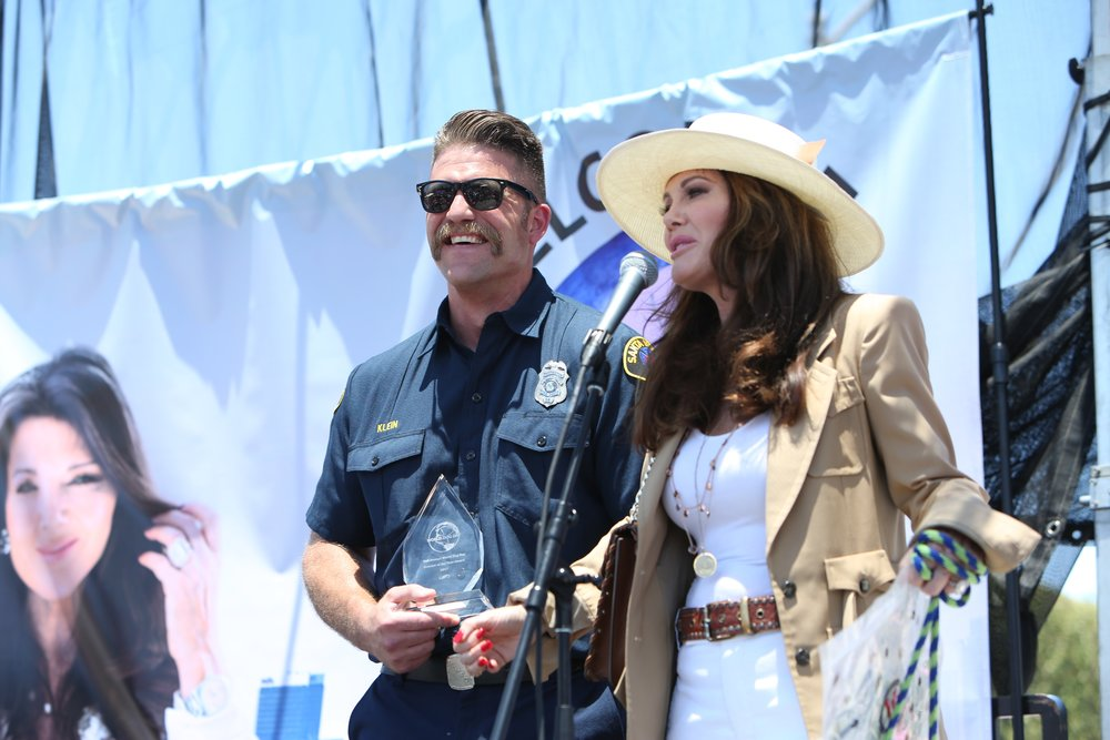 """I was also honored to meet and recognize firefighter Andrew Klein who rescued and gave CPR to a dog who had been trapped in a burning building,"" Lisa Vanderpump said when presenting him with the ""Vanderpump Dog Foundation Hero Award."""