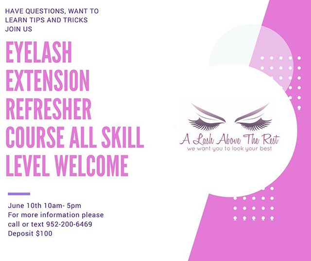 Freshen up on your techniques ask questions, get tips and much more. Call or text today to get reserve your spot. . . . . #alashabovetherest #lashmaker #art #moa #eyelashes #upgrades #skills #mnlashes #mneyelashextensions #mnlashtech #mnclassics #businesswoman #businessowner #technique #more