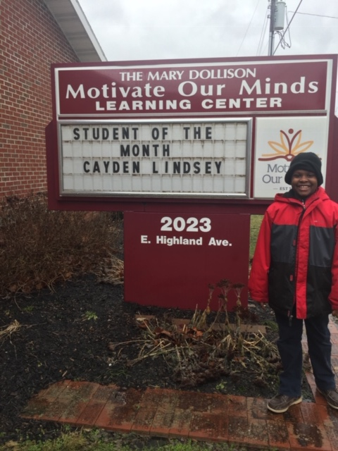 Cayden Lindsey-February MOM Student of the Month