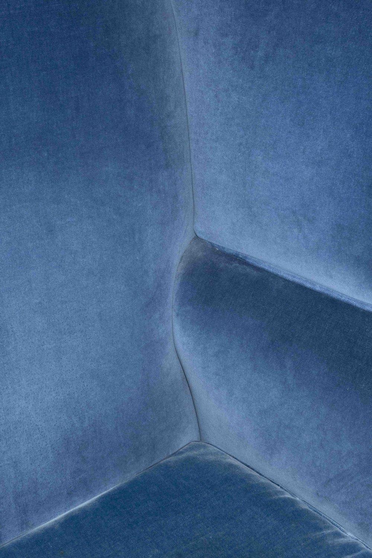 """blue velvet armchair, 28"""" x 42"""""""
