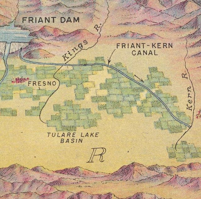 Cool @bureau_of_reclamation map of the Central Valley Project, with detail of the Friant Division. . . #bakersfield #fresno #delano #visalia #merced