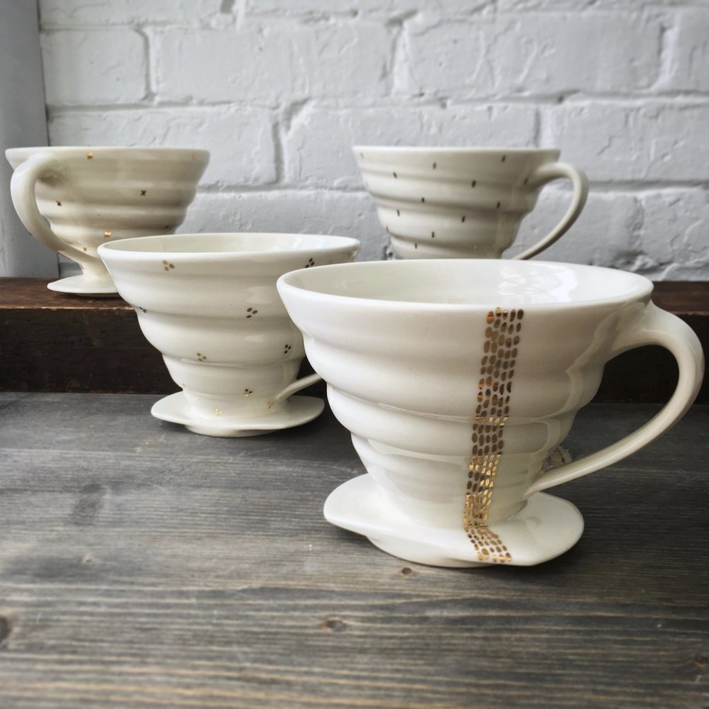 Tandem Ceramics: Handmade Porcelain and 22k gold coffee drippers.