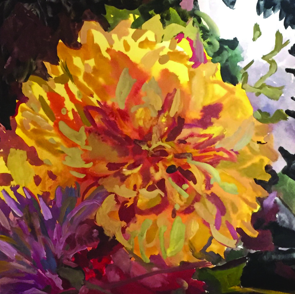 Dahlia by Roz Sommer. Gouache on watercolor paper. Click to buy one of Roz Sommer's paintings!