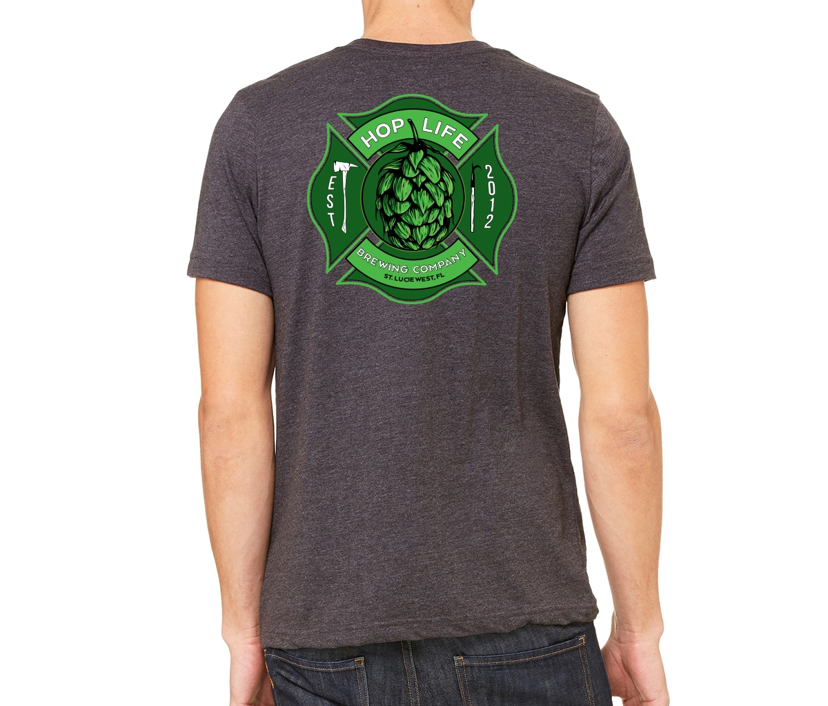 Maltese Cross Hop Life Tee - Dark Grey Heather - Hop Life Brewing Company