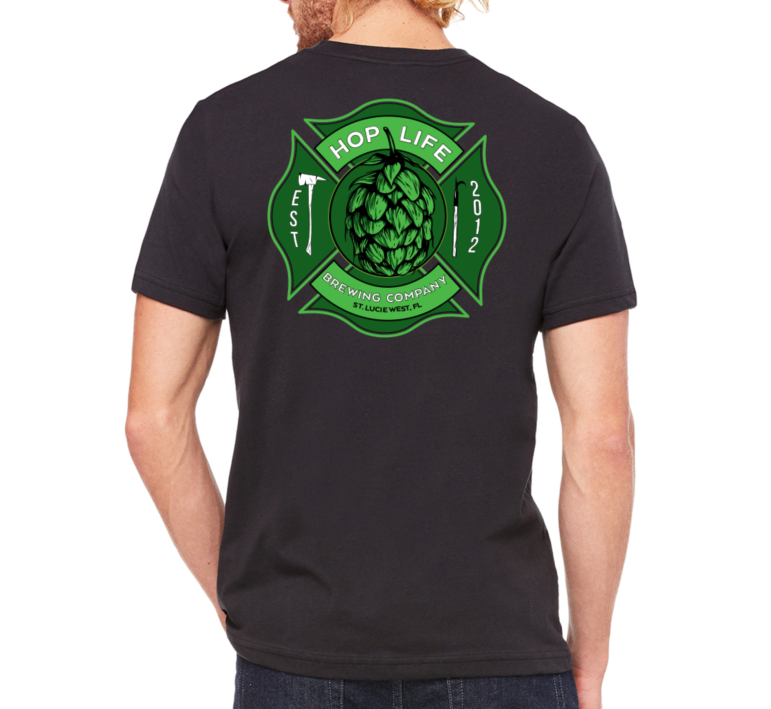 Maltese Cross Tee - Black - Hop Life Brewing Company