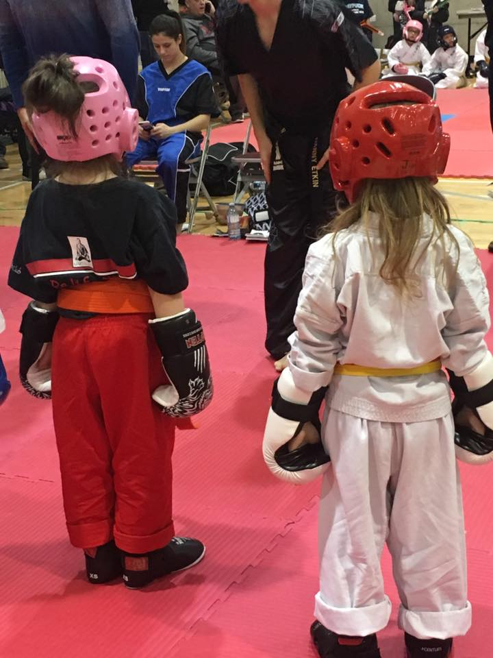 Youngest (in white) with her best bud before their fights. Thanks t Krissy Sakamoto for the picture.