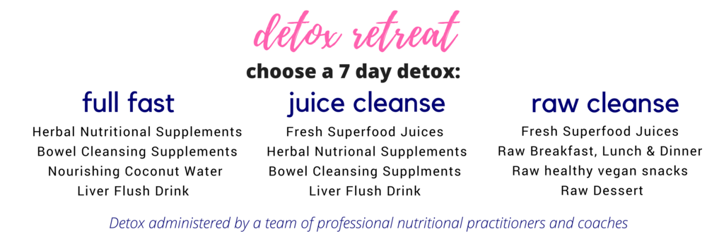 Each level of Detoxification will include twice daily Colon cleansing sessions, daily nutritional supplements, bowel cleansing products, probiotics, daily massage and full access to all classes, activities and presentations.