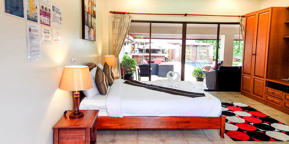 Poolside  - $1,699 - Single Occupancy: 3 rooms available $1,599 - Double Occupancy: 2 rooms available (each own bed)Queen Size BedDeskAir ConditionedCable TV/DVDWiFi InternetEn-suite Bathroom