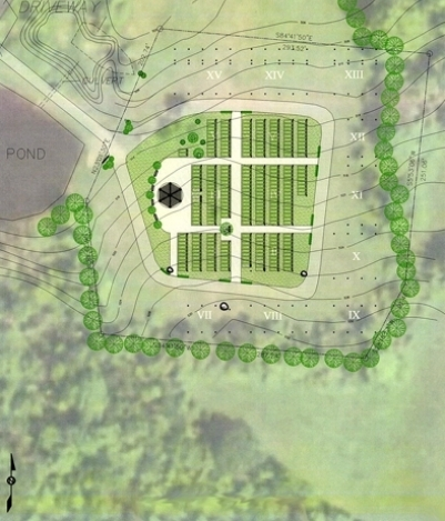 The drawing above shows the proposed finished plan of The Chatham Jewish Cemetery. This plan also indicates areas for future expansion of this portion of the Cemetery.