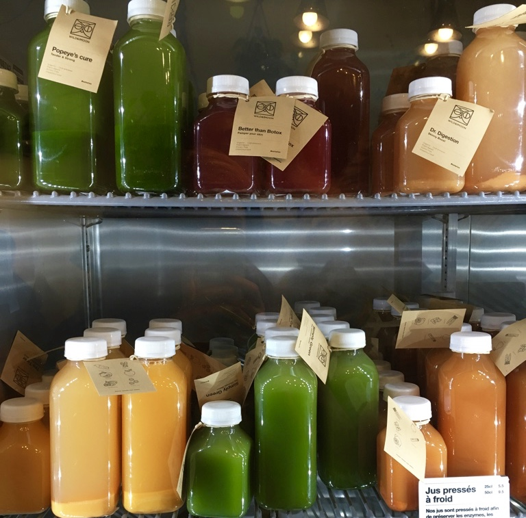 Cold-pressed juice selection