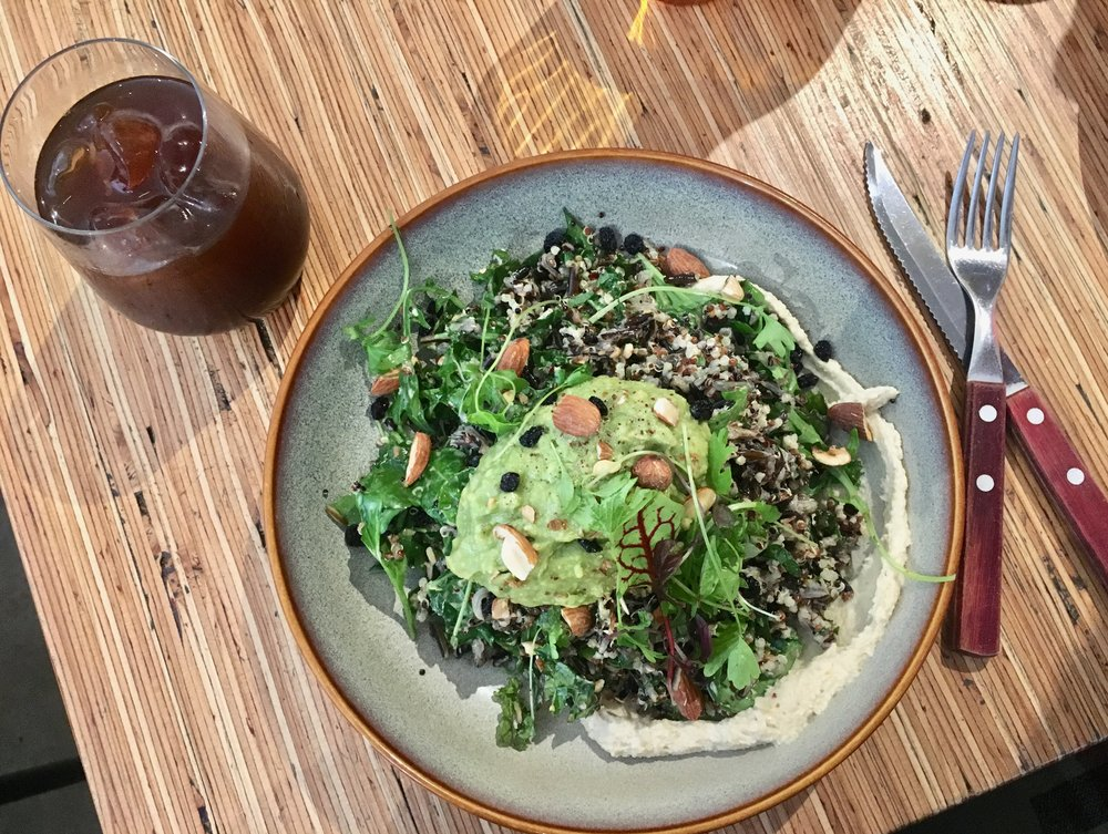 RUSTICA, Fitzroy // plate: Breakfast salad with quinoa, wild rice, kale, hummus & avo instead of poached eggs