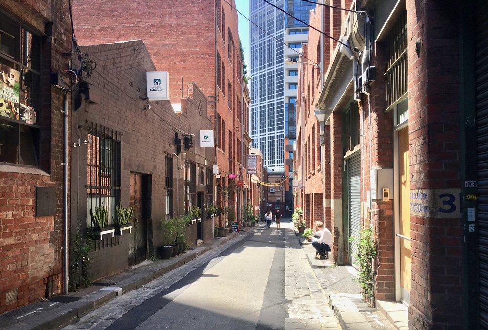 Not street art, but a cute brick lane in Melbourne's CBD